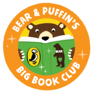 Alphabites bear & puffin's book club logo